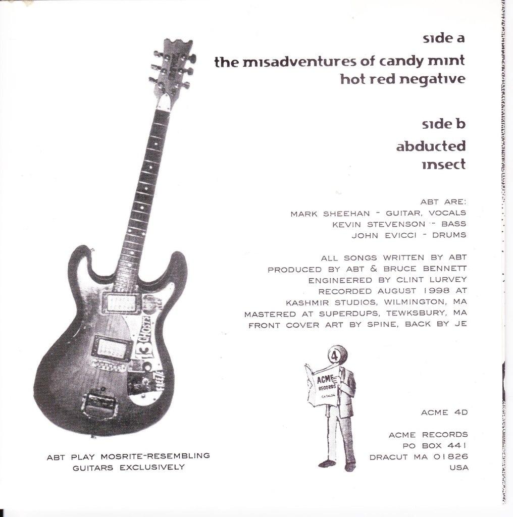 """alien blood transfusion 7"""" record back cover art mark sheehan kevin stevenson john evicci"""